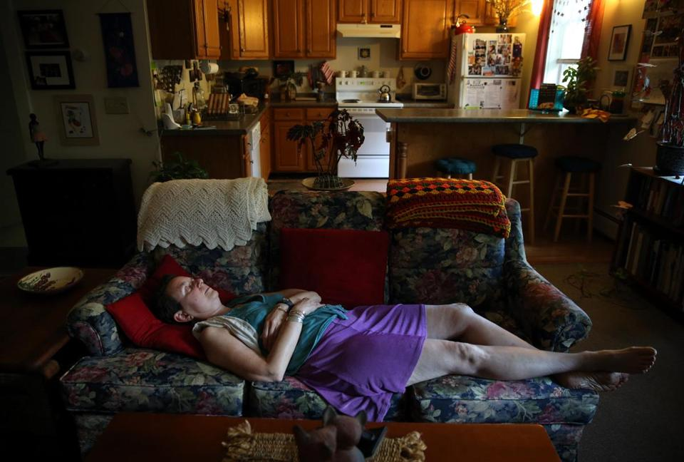Katie Olmstead rested at her Florence, Mass. home before getting ready for an evening of dancing.